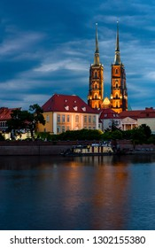 Night view on Wroclaw Cathedral (Cathedral of St. John the Baptist), Gothic style church on Ostrow Tumski Island in Wroclaw in Poland