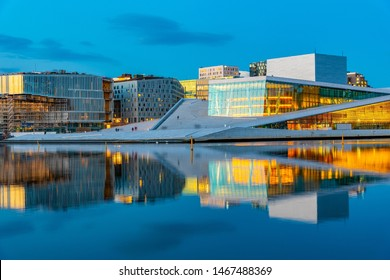 Night view of Opera house in Oslo, Norway
