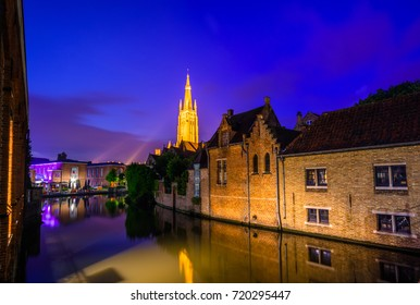 Night view over Brugge canal, Belgium