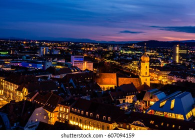 Night view over Graz from the Schlossberg in Austria