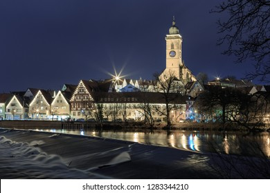 Night view over the Neckar River to Nuertingen