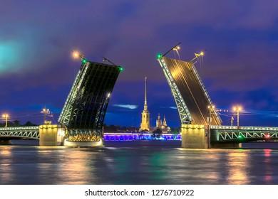 Night view of Palace Bridge, St. Petersburg, Russia