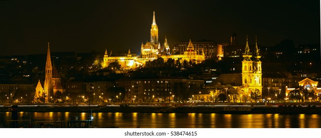 Night view panorama of Buda part of Budapest with St. Matthias Church and Fisherman Bastion