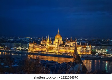 Night View Of Panorama Budapest, Hungary