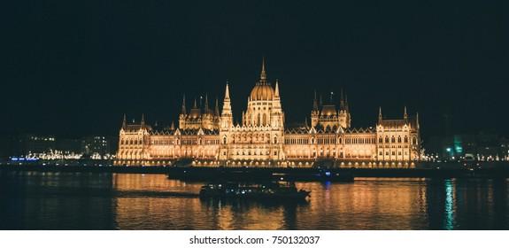 Night View Of Panorama Budapest, Hungary