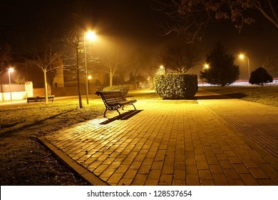 Night view of a park bench in the pool of light cast by a street light in autumn