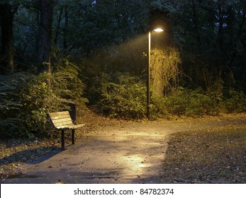 Park Bench At Night Images Stock Photos Vectors Shutterstock