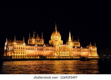 night view of parliament, budapest, hungary