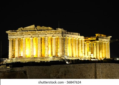 night view of Parthenon in Athens, Greece