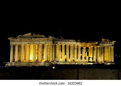 the night view of Parthenon, Greece