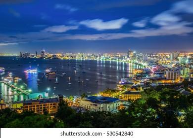 At night View of pattaya city beach at Pratumnak Viewpoint, Pattaya,Thailand