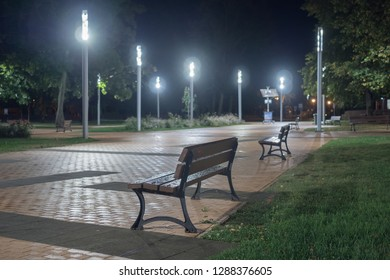 Night view of the pedestrian zone of rest in Nida. A small park in Nida.