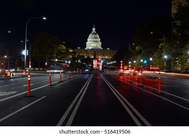 Night view of Pennsylvania Avenue and the Capitol Building in Washington DC, capital of the United States of America