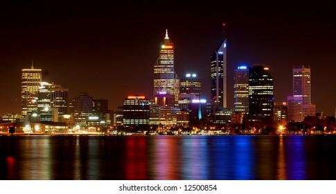 night view of perth, western australia