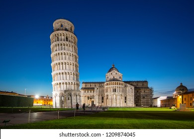 Night view of Pisa Cathedral with Leaning Tower of Pisa on Piazza dei Miracoli in Pisa, Tuscany, Italy. The Leaning Tower of Pisa is one of the main landmark of Italy