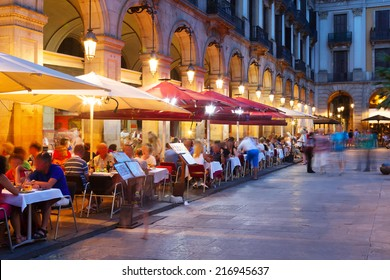 night view of Placa Reial  in summer. Barcelona