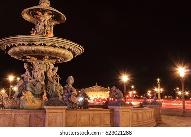 The night view at the place Concorde, Paris, France