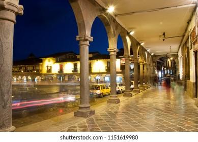 Night view from Plaza de Armas in Cuzco.