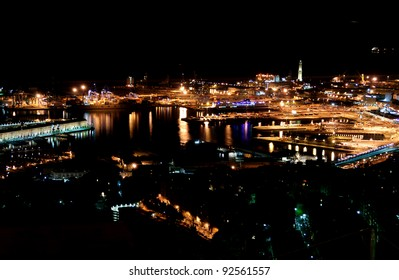 Night view of the port of Genoa
