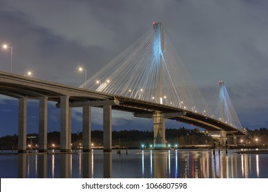 A night view of the Port Mann bridge from Coquitlam, British Columbia, Canada.