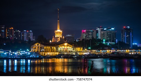 Night view of the port of Sochi illuminated by the lights in Russia