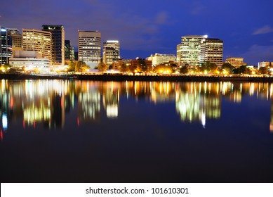 Night view of portland downtown