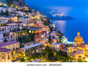 Night view of Positano village at Amalfi Coast, Italy.