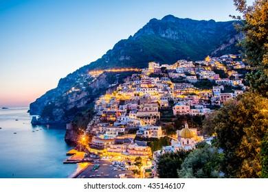 Night view of Positano village at Amalfi Coast, Italy.