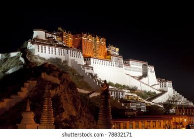 Night view of Potala Palace in Lhasa, Tibet