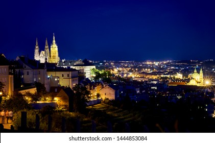 Night view of Prague and Castle