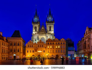 Night view of Prague Old Town Square and Church of Mother of God before Tyn in Prague. Czech Republic. Architecture and landmark of Prague, postcard of Prague.