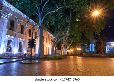 night view of Primorsky boulevard in Odessa city, Ukraine. Beautiful city Park and street illumination