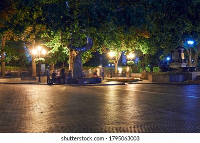 night view of Primorsky boulevard in Odessa city, Ukraine. Beautiful city Park and street illumination, walking people