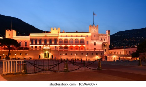 Night view of Prince's Palace, Monaco Ville, Monaco