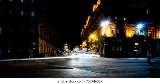 Night view of princes street edinburgh with long exposure light track