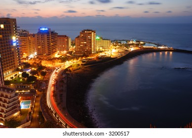night view of Puerto de la Cruz, Tenerife Spain