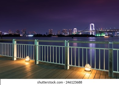 Night View of Rainbow Bridge Seen from Odaiba
