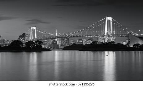 Night view of Rainbow Bridge. Tokyo, Japan. Black and White