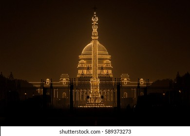 Night View of Rashtrapati Bhavan (Presidential Palace), India on the Republic Day of India