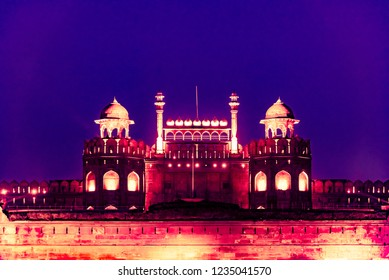 Night view of Red Fort, a UNESCO world heritage site,is a historic fort in the city of Delhi in India. It was the main residence of the emperors of the Mughal dynasty.