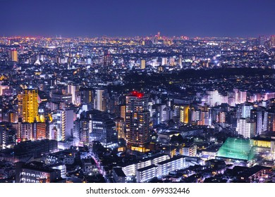 Night view of residential area in Tokyo