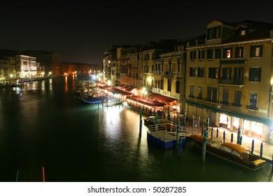 Night view from the Rialto Bridge in Venice