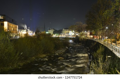 Night view of the river Passer in Meran / Merano, south Tirol, Italy,  during the Chrismas season.