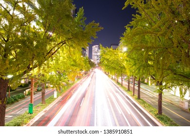 Night view and road to JR Central Towers at Nagoya station in Nagoya,Japan