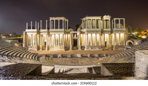 Night view of the The Roman Theatre Merida, Extremadura, Spain. Front view