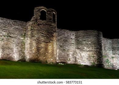 Night view of the Roman wall of Lugo. Galicia. Spain