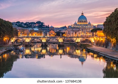 Night view of Rome and St. Peter's Basilica, Italy.