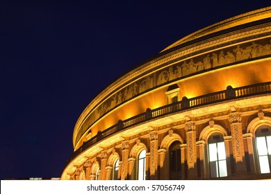 Night view of Royal Albert Hall in London