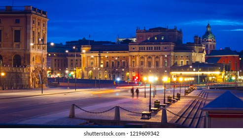 Night view of Royal Opera House and surrounding buildings seen from Skeppsbron, Stockholm, Sweden, Europe