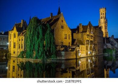Night view from the Rozenhoedkaai of the Old Town of Bruges (Bruges, Belgium)